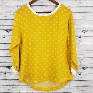 Anthro Maeve Mustard Yellow Blouse Top Sz 8